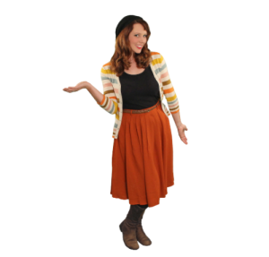 Pancake Manor Retro Dresses Mama Reb Orange Skirt Cardigan Vintage Style Fashion